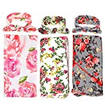 3-Pack-Receiving-Blanket-with-Headbands-BQUBO-Newborn-Baby-Floral-PrintedBaby-Shower-Swaddle-Gift