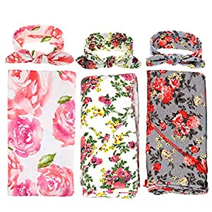 3 Pack Receiving Blanket with Headbands BQUBO Newborn Baby Floral PrintedBaby Shower Swaddle Gift