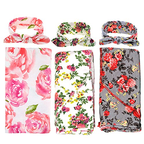 (3 Pack Receiving Blanket with Headbands BQUBO Newborn Baby Floral PrintedBaby Shower Swaddle Gift)