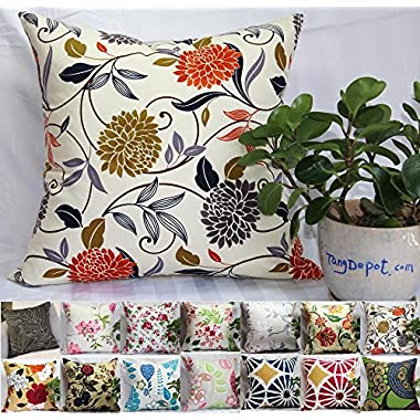 TangDepot 100% Cotton Floral/Flower Printcloth Decorative Throw Pillow Covers /Handmade Pillow Shams, 14 Color and 10 Size options, Light Black, Peach Blossom, Red Rosebush, Red And Green Leaf, White Magnolia, Fantastic Flowers, Chrysanthemum, Peony, Red And Navy Flower, Blue Floral, Pink Floral, Blue Wheel, Red Wheel, Tree Rings, 12  x 12 , 12  x 18 , 12  x 20 , 14  x 14 , 16  x 16 , 18  x 18 , 20  x 20 , 22  x 22 , 24  x 24  and 26  x 26  - (18 x18 , S07 Chrysanthemum)