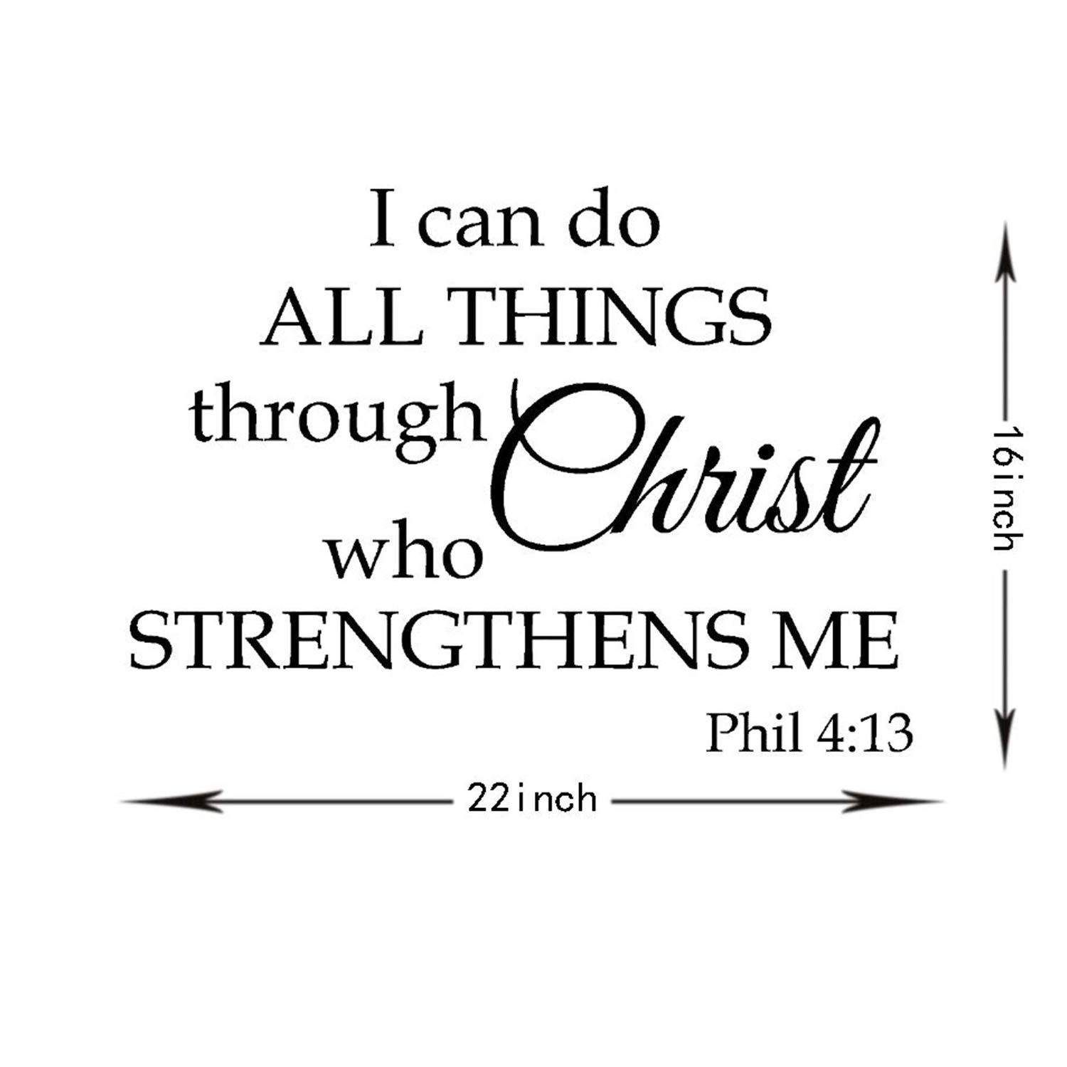 I Can Do All Things Through Christ who Strengthens me,Wall Sticker Motivational Wall Decals,Family Inspirational Wall Stickers Quotes /…