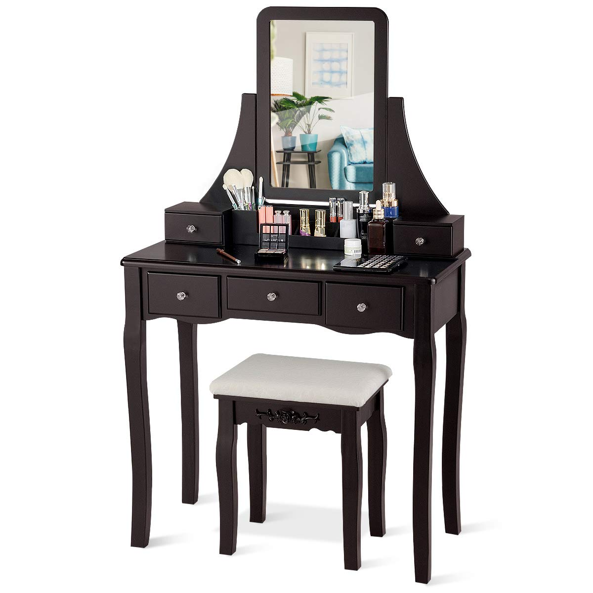 CHARMAID Vanity Set with 5 Drawers, 2 Dividers, Removable Storage Box, Dressing Table Set with Square Mirror Cushioned Stool for Women Girls, Bedroom Bathroom Furniture Makeup Vanity Set Coffee