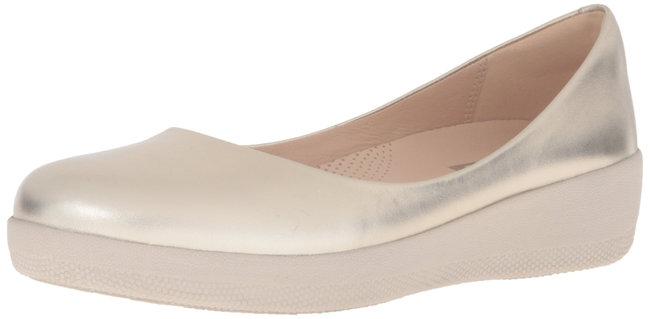 FitFlop Women's Leather Superballerina Flats Pale Gold 06 & Sunscreen