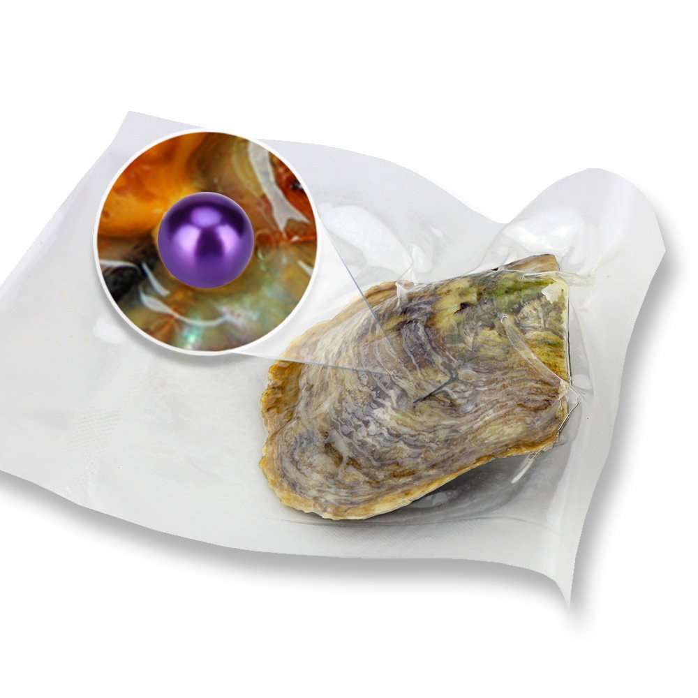 Akoya Love Wish Cultured Pearl Oysters with Round Pearls Inside Bright Purple Color 20PCS (7-8mm)