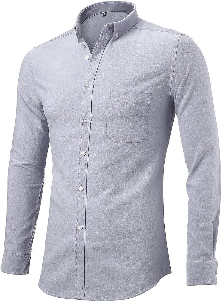 Mens Oxford Dress Shirts Casual Slim Fit Button Down Long Sleeve Shirts
