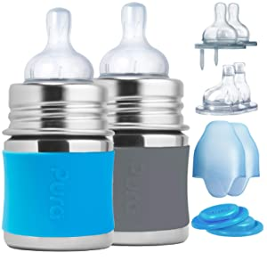 Pura Stainless Starter Gift Set with 5oz/150 ml Stainless Steel Infant Bottles(2) Silicone Slow-Flow Nipples(2), Medium-Flow Nipples(2), XL Sipper Spouts(2) Sealing Disks(2), Sleeves(2)- Aq&Grey