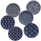 Certified International Blue Indigo Canape Plates 6'', Set of 6 Assorted Designs