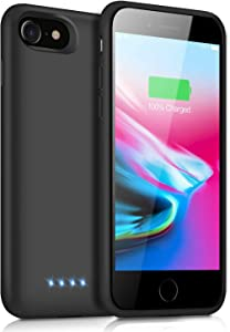 Battery Case for iPhone 8/7/6s/6/SE(2020), Upgraded 6000mAh Portable Rechargeable Charger Case for iPhone 6s/6 Extended Battery Pack for iPhone 8/7/SE(2020) Protective Charging Case (4.7 inch) -Black