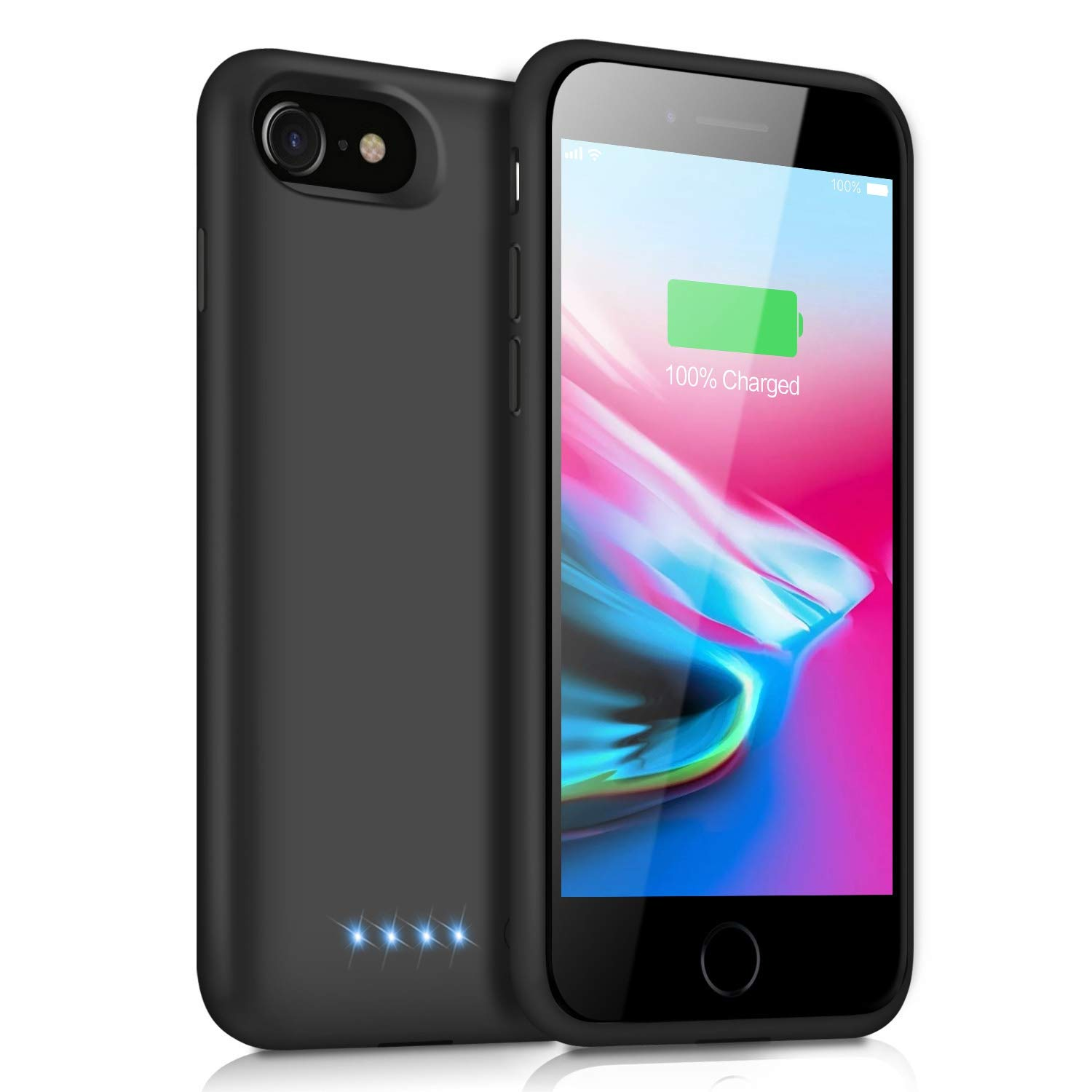 Battery Case for iPhone 8/7 Upgraded 6000mAh Portable Rechargeable Charging Case for iPhone 7 Extended Battery Pack for iPhone 8 Protective Charger Case Backup Cover [4.7 inch ]- Black