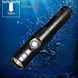 Odepro WD12 Scuba Diving Flashlight 3 Modes1050LM Underwater 100m Waterproof Rechargeable Lights 2pcs 3000mAh 18650 Battery and Charger included