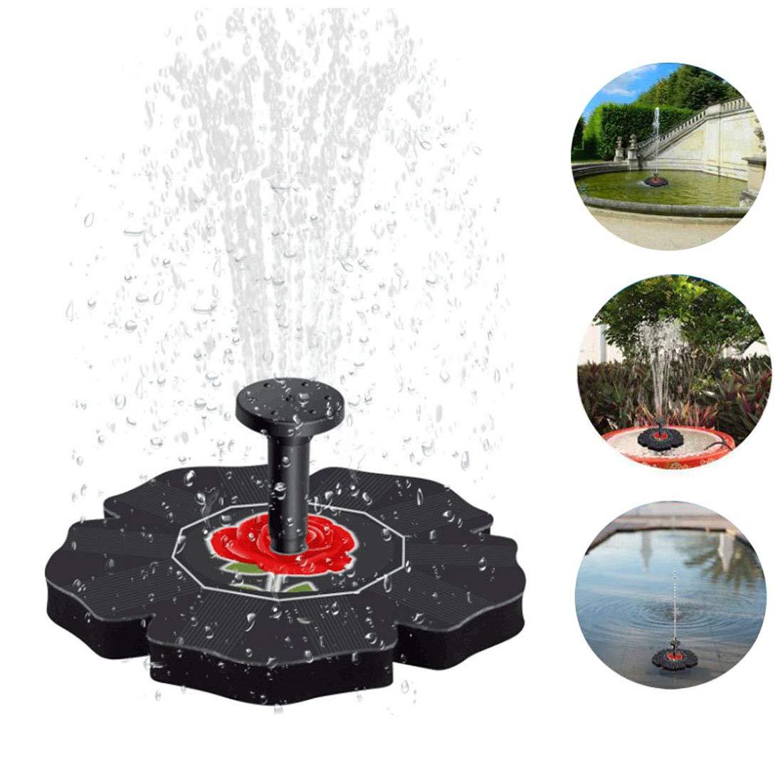 LY-LD Fuente Solar Bomba 1.4 W Libre de pie Fuente de Agua Kit de Bomba con 4 Diferentes Cabezas de patrón de pulverización para el baño de pájaro, Tanque de Peces
