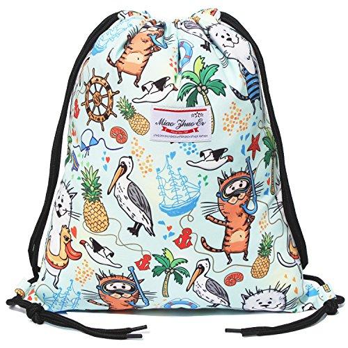 Alpaca Go Drawstring Bag Water Resistant Floral Leaf Lightweight Gym Sackpack for Hiking Yoga Gym Swimming Travel Beach (M - Beach) by Alpaca Go