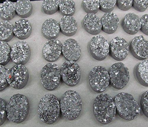 Quartz Bead Drusy Pendant - 50pcs 10x20mm Titanium Agate beads Druzy Agate oval egg Beads Pendants Drusy Quartz Cabochons Charms Necklace Jewelry