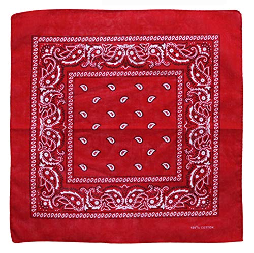 Charlotte 12Pcs Bandanas 100% Cotton Paisley Print Head Wrap Scarf Wristband (Red)