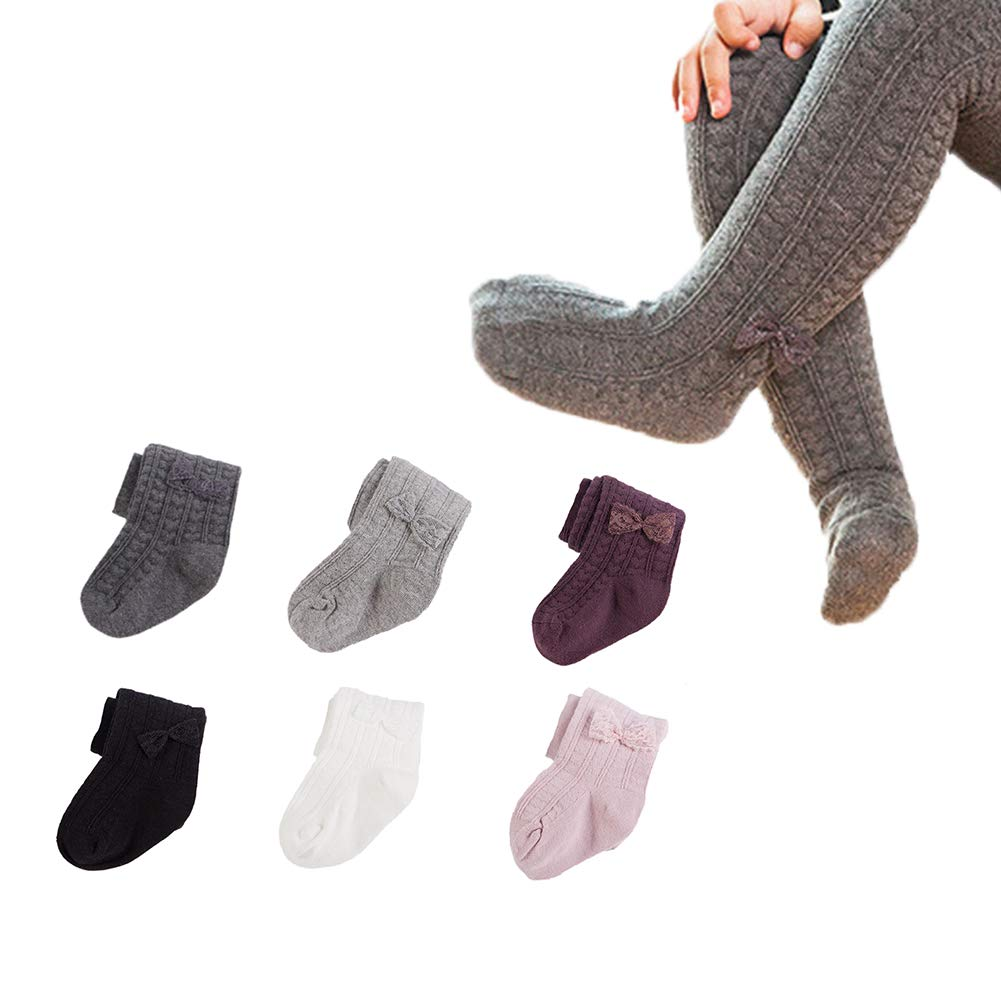Dejian 6 pairs Baby Girls Cable Knit Tights Bowknot Leggings Stocking Pants For Toddler Infant (2-4 years old, Black,Gray,White,Pink,Purple,Dark grey) by Dejian
