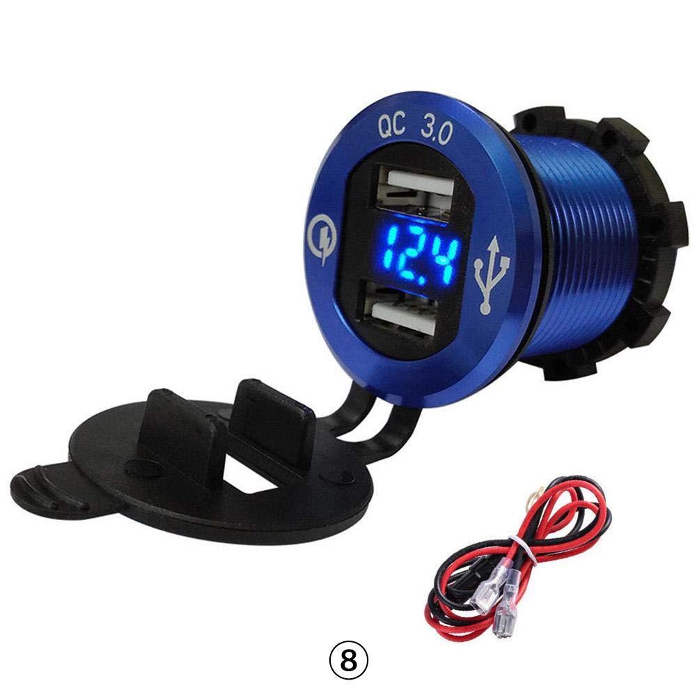 Calistouk QC 3.0 Cargador de Z/ócalo Adaptador de Encendedor de Cigarrillos Marinos Volt/ímetro LED para 12 V//24V Barco Motocicleta Cami/ón Azul-Luz azul