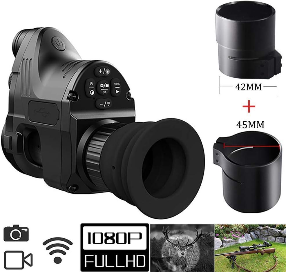 HGERFXC Visión Nocturna Caza Alcance Militar Telescopios monoculares 200m 1080P HD Cámara Digital Día Visión Nocturna Caza WiFi IR Infrarrojo 4x-14x Rifle Scope App