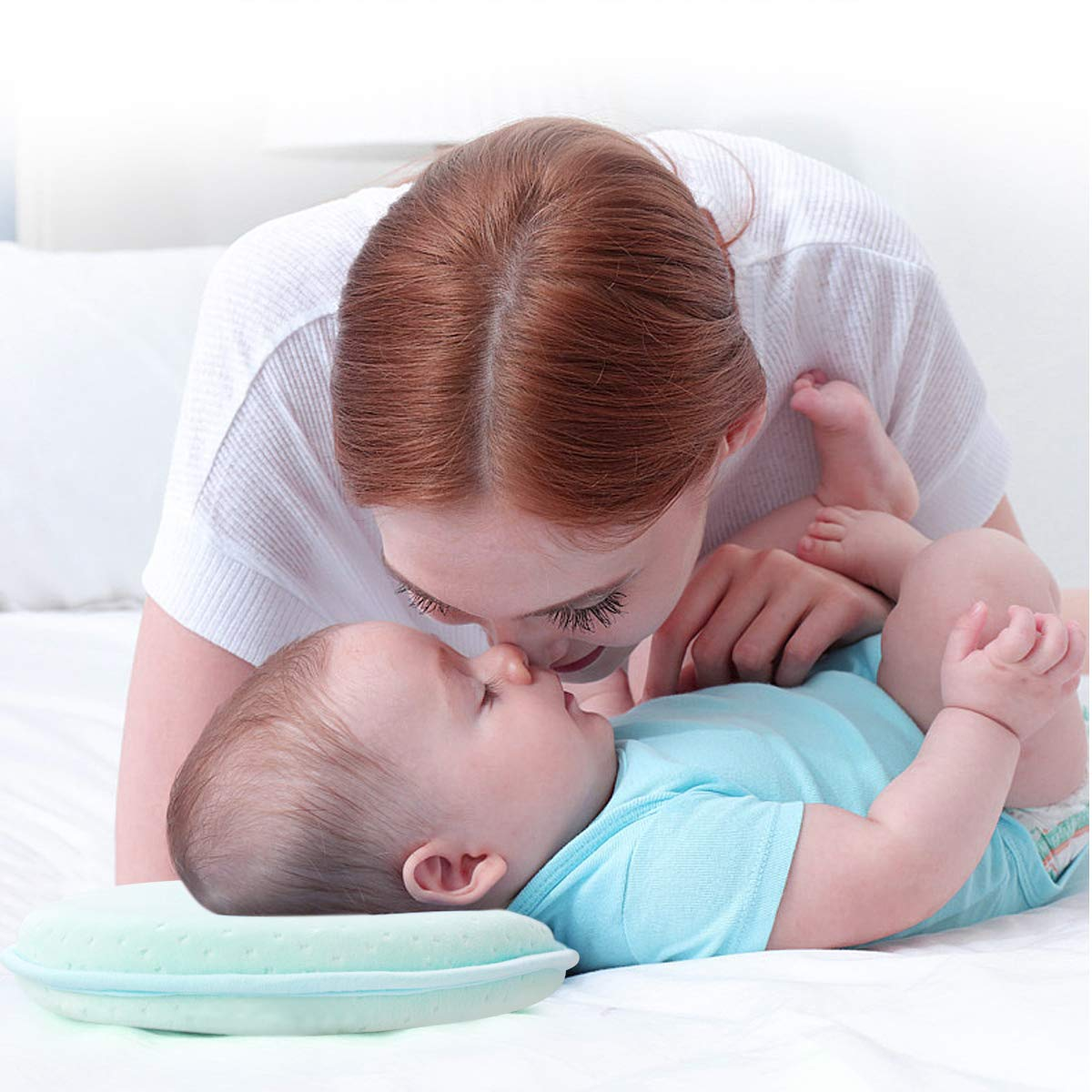 0-12 Months Baby Pillow,Cadrim Baby Head Shaping Pillow Flat Head Syndrome Newborn Pillow Memory Foam Pillows Prevention Plagiocephaly with Pillowcase