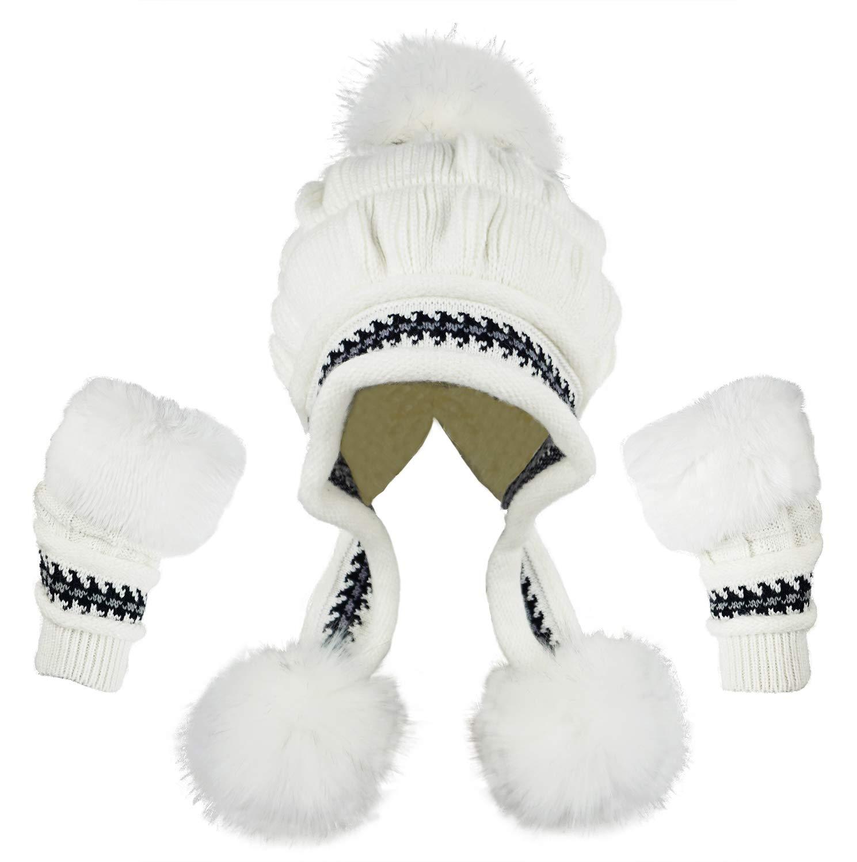 66d01c96b3cc6 Details about Bellady Women Knit Beanie Winter Ski Hat Cap with Earflap Pom  Glove Set,White