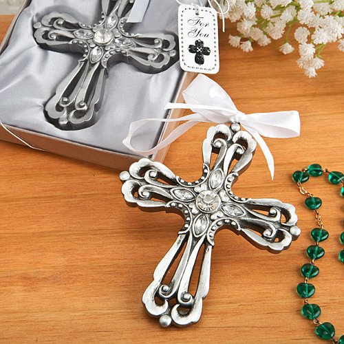 - Antique Silver CROSS Ornament with Rhinestones - 4