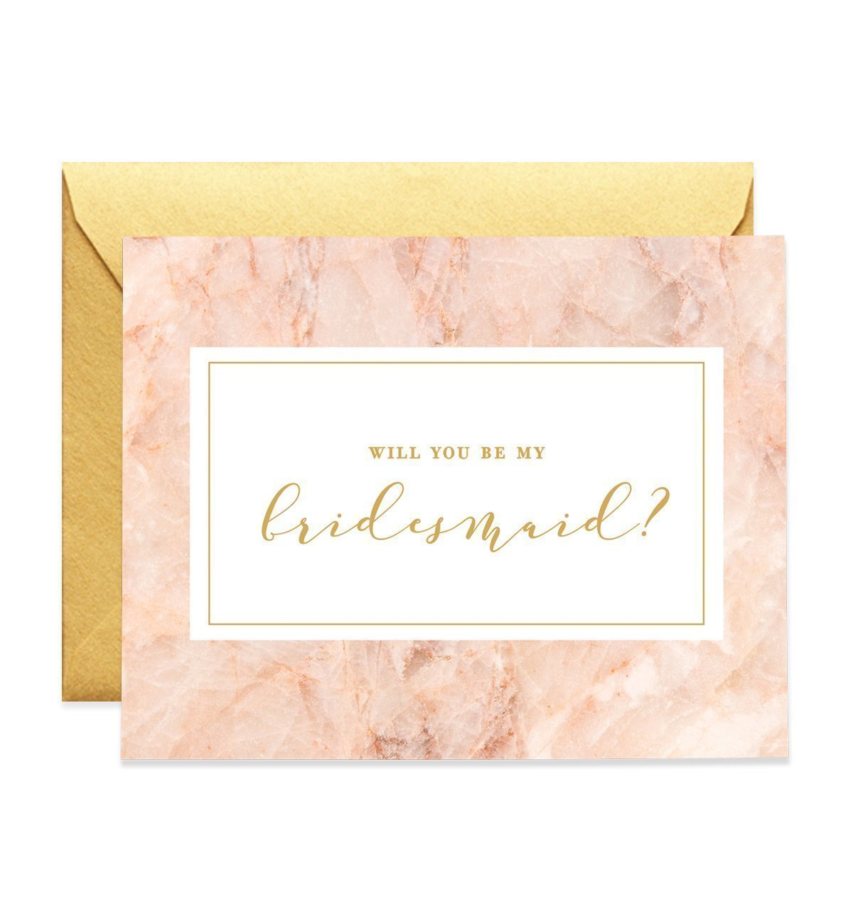 Will You Be My Bridesmaid Proposal Cards (Set of 5) Pink Gold Engaged Wedding Bridal Party Brides maids Greeting Cards Gold Shimmer Luxe Metallic Envelope Five Pack CW0013-1