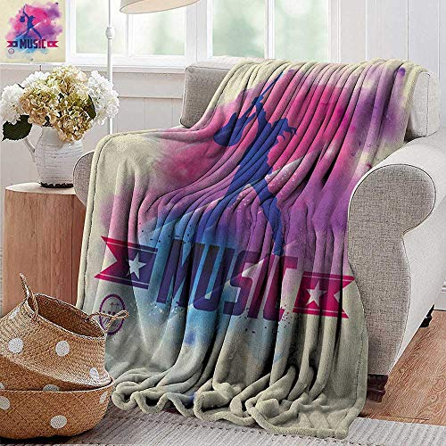 XavieraDoherty Cool Blanket,Teen Room,Rock Star with Guitar Inside Watercolor Cloud with Musical Quote Print, Cream Pink Purple,300GSM,Super Soft and Warm,Durable Throw Blanket 50
