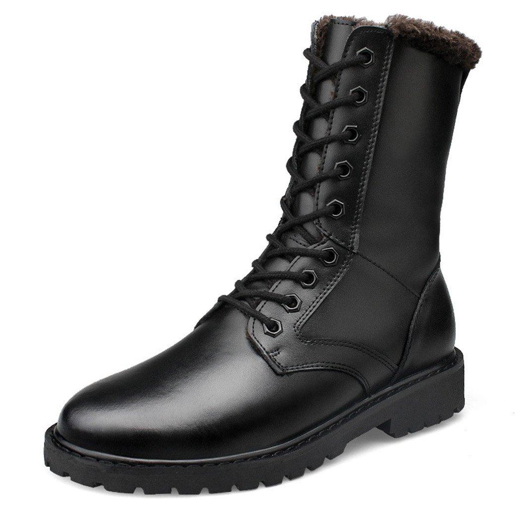 ZQ@QXOtoño invierno botas altas de cuero botas casual al aire libre, desgaste y cashmere hombre Ma Dingxue,con terciopelo,46 46 With velvet With velvet