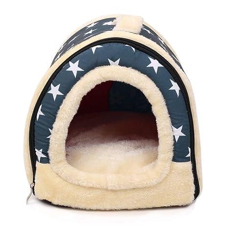 Casa para mascotas y sofá 2 en 1, estrella blanca, lavable a máquina,