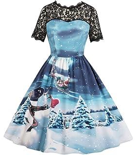 ca82800d01 Nicetage Women s Vintage Print Short Sleeve Lace Retro A-Line Party Swing  Dress
