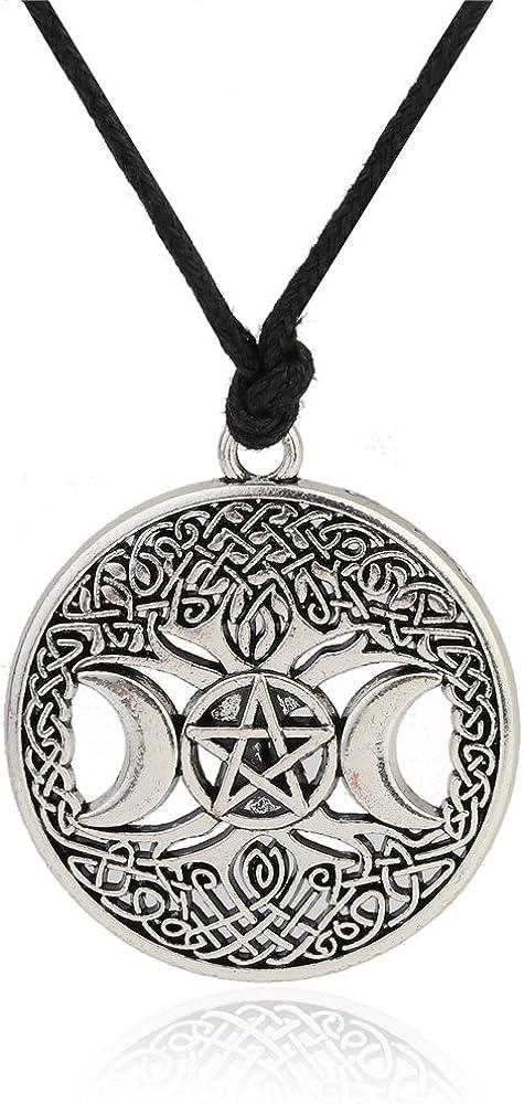 Triple Moon Goddess Pendant Tree of Life Necklace Pentacle Pentagram Wiccan