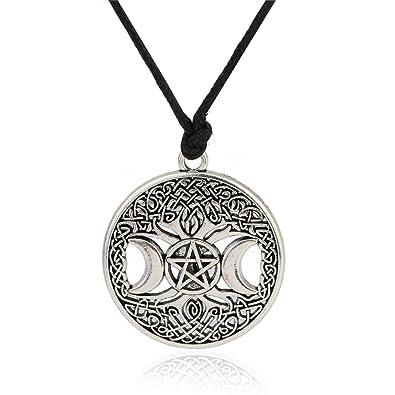 Triple Moon Goddess - Colgante de árbol de la vida, pentáculo y pentagrama: Amazon.es: Joyería