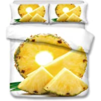 Flamingo and tropical fruit pineapple series bedding - duvet cover and pillowcase, bedroom three-piece bedding (duvet cover + 2 pillowcases), Prevent moisture, hypoallergenic, single, double bed