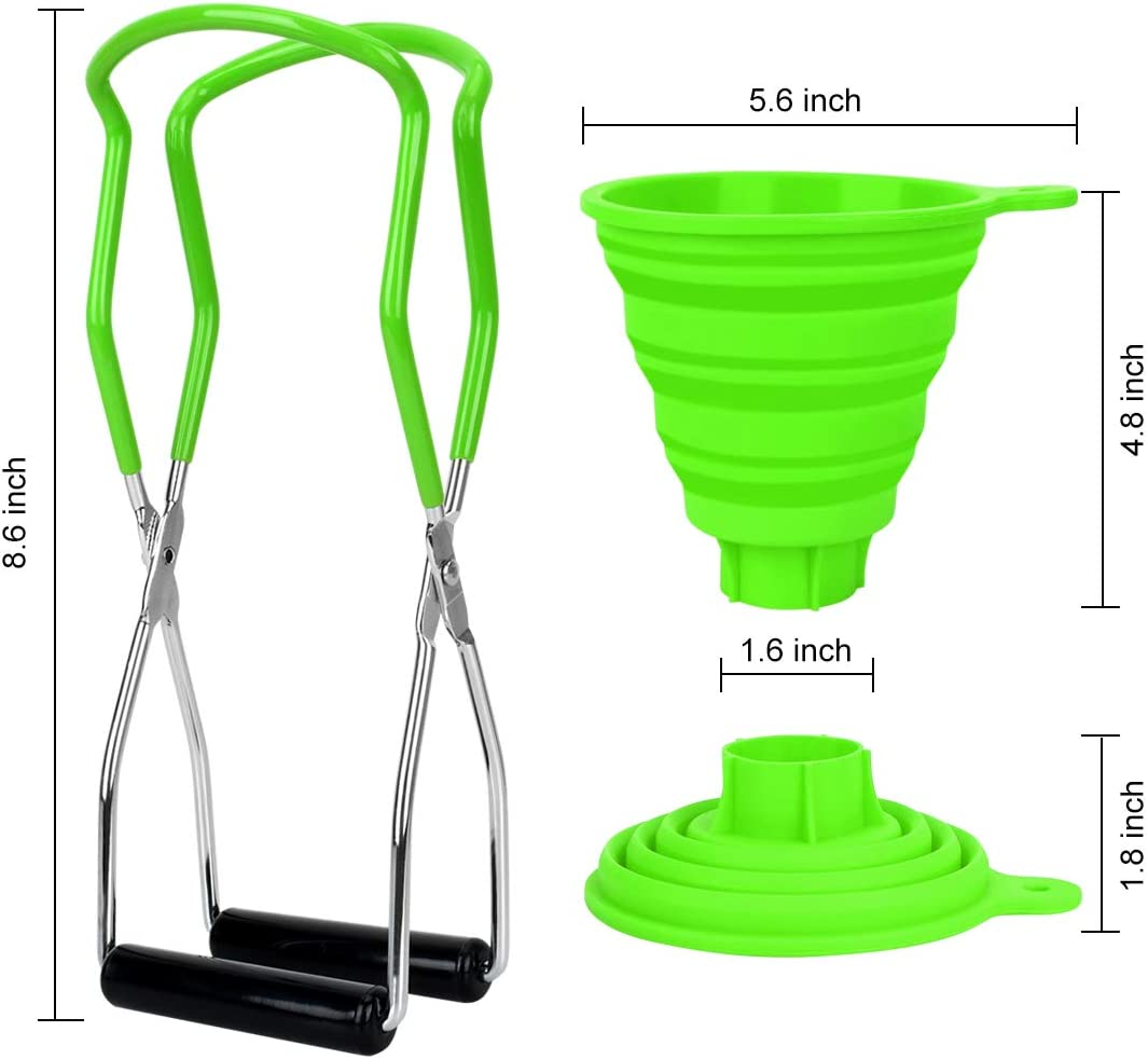 Red Canning Tongs Stainless Steel Canning Jar Lifter and Silicone Foldable Canning Funnel Compatible with Wide Mouth and Regular Jars for Home Canning Supplies Kits