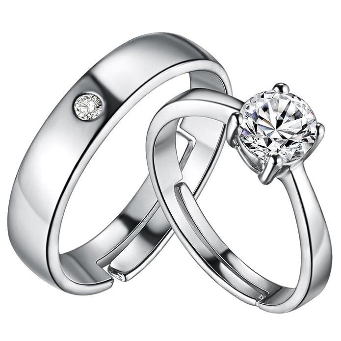 HMILYDYK - Juego de alianzas de boda para hombre y mujer, chapados en plata de ley 925, ajustables, circonita cúbica de corte redondo, 4 puntas: Amazon.es: ...