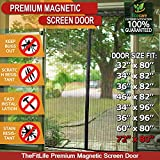 TheFitLife Magnetic Screen Door - Heavy Duty Mesh Curtain with Full Frame Velcro and Powerful Magnets that Snap Shut Automatically - 74''x81'' - Fits doors up to 72''x80'' Max