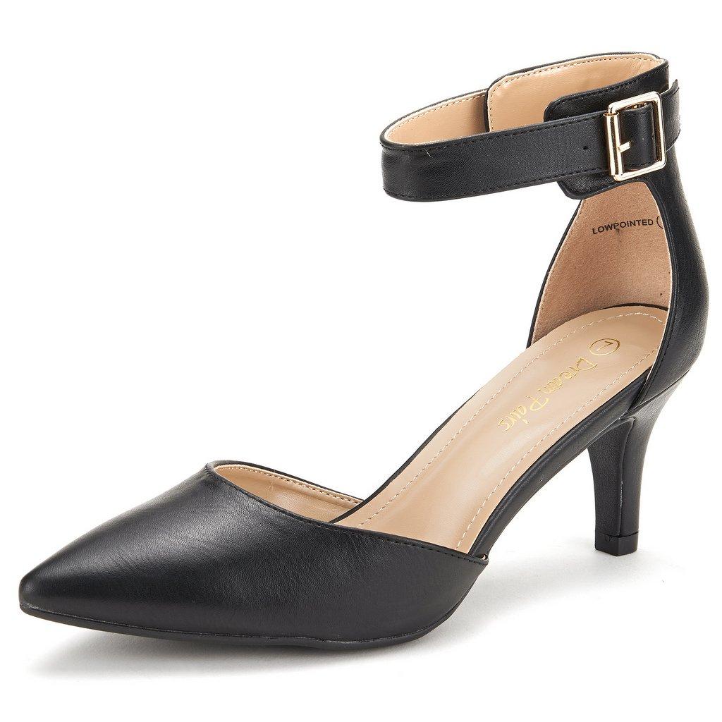 DREAM PAIRS Women's Lowpointed Black Pu Low Heel Dress Pump Shoes - 7.5 M US