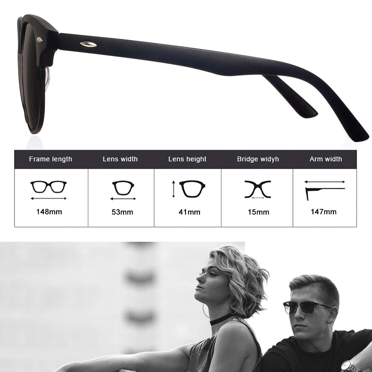 Feirdio Sonnenbrille Herren Damen Polarisierte Halbrahmen Retro Mode Vintage Fashion gl/äser 031