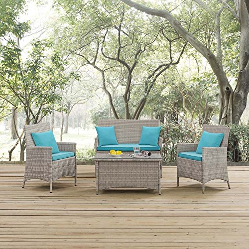 Modway EEI-2763-LGR-TRQ Outdoor Patio Conversation Set Pillow, Green, Light Gray Turquoise by Modway