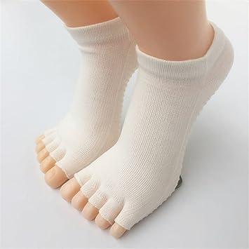 Maybesky Calcetines de Yoga Calcetines de Dedos Antideslizantes de algodón Dedo de la Mano Calcetines Femeninos