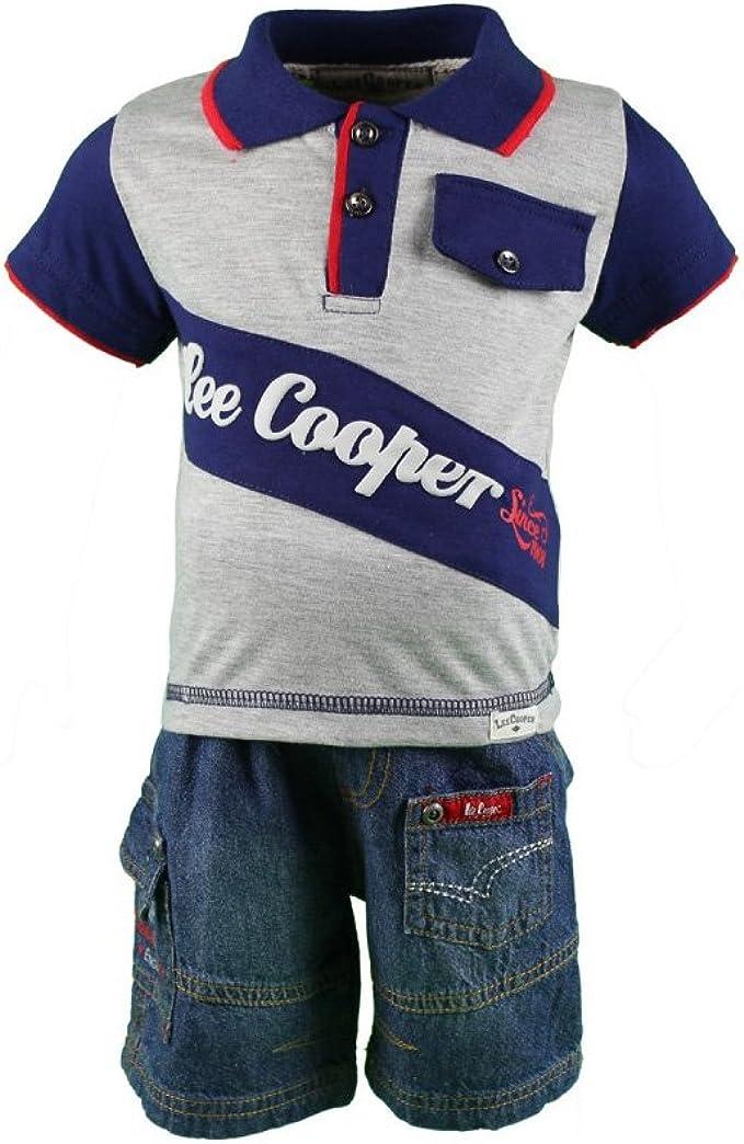 Lee Cooper – Conjunto Dos Piezas polo y Short – bebé niño gris 3 ...
