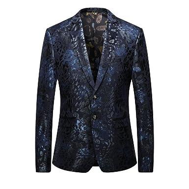 f3052fbb3c Mens Blazers Floral Party Dress Suit Notched Lapel 2 Buttons Slim ...