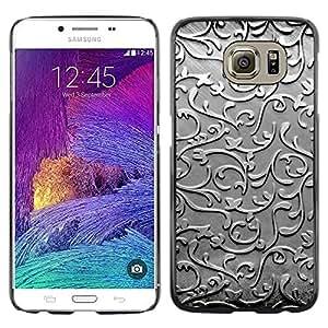 Stuss Case / Funda Carcasa protectora - Glass Silver Metal Floral Pattern Grey - Samsung Galaxy S6 SM-G920
