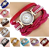 CdyBox Fashion Rhinestone Watch Twine Bracelet Women Luxury Quartz Wrist Watches(10 Pack)
