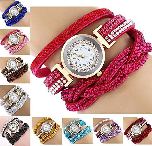 CdyBox Fashion Rhinestone Watch Twine Bracelet Women Luxury Quartz Wrist Watches(10 (Band Rhinestone Ladies Watch)