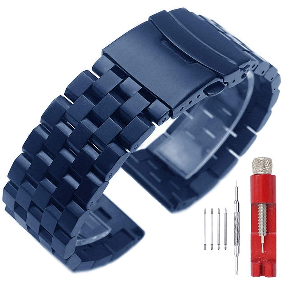 Noble Blue 22mm Watch Bands Strap for Men Women Stainless Steel Bracelet Watch Band Replacement Solid Double Buttons Fold Over Clasp by SINAIKE