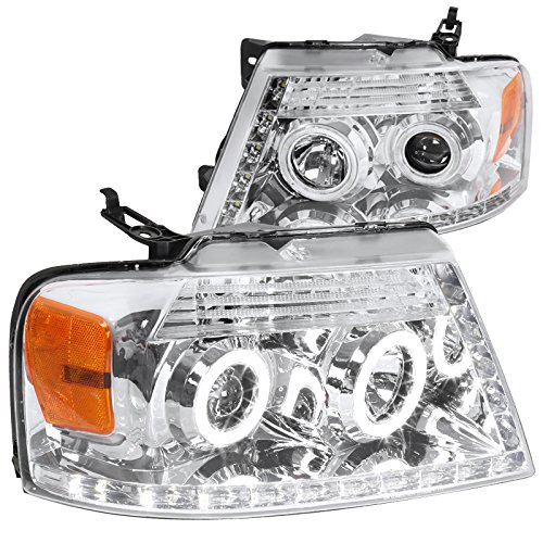 Spec-D Tuning 2LHP-F15004-8-RS Ford F150 R8 Led Halo Chrome Clear Projector Head Lights