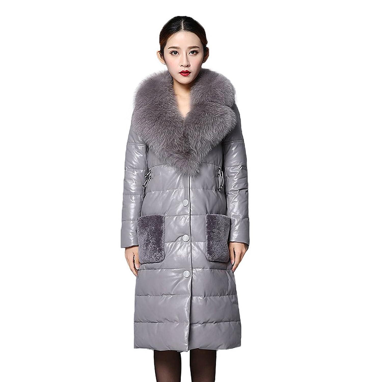 Fur Story 151243 Damen Lange Echte Schafs Leder Unten Mantel mit Fuchs Pelz Kragen