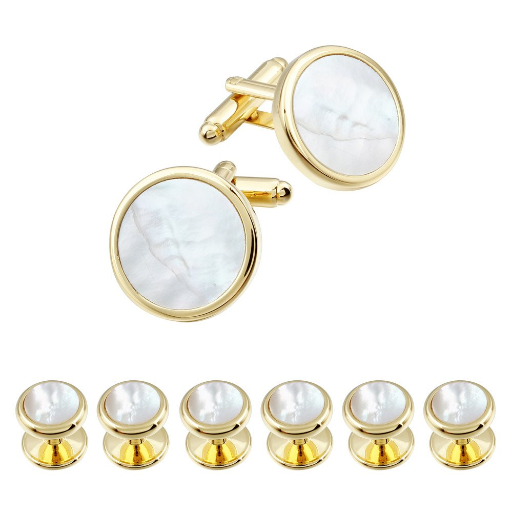 HAWSON Mother of Pearl Man Tuxedo Shirt Studs and Cufflinks Set - Gold Tone Wedding Business
