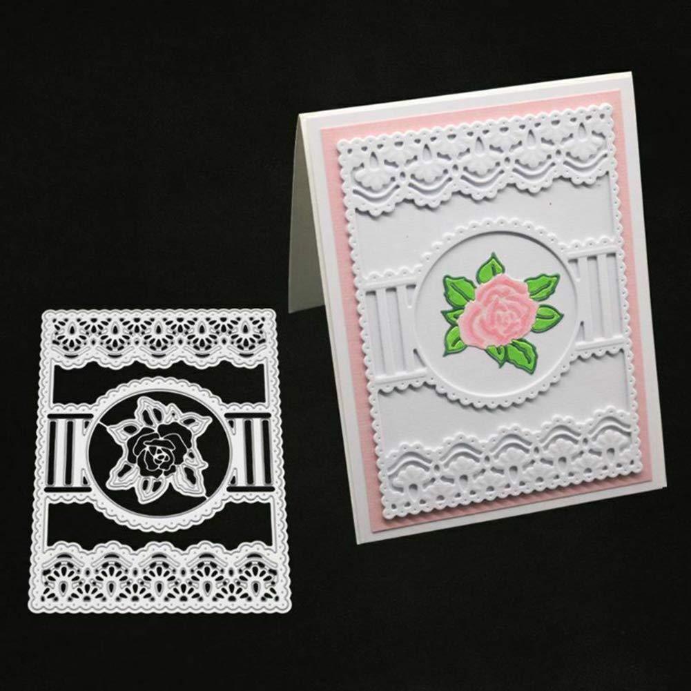 SSNsvj Frame Flower Metal Cutting Dies DIY Scrapbooking Emboss Paper Cards Photo Craft Silver