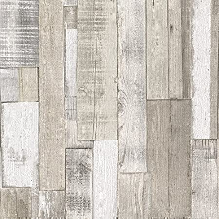 Rasch Authentic Wood Wooden Beam Panels Embossed Textured Wallpaper Beige Blue  By Rasch